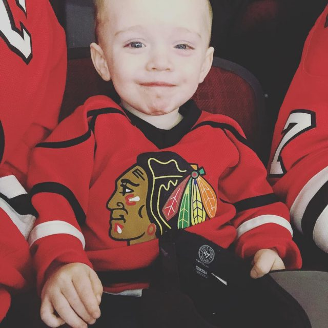 Connor is LOVING his first of many Blackhawks Hockey gameshellip